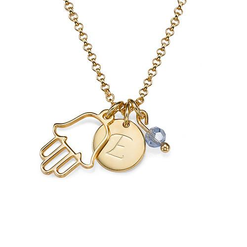 Initial Necklace with Hamsa Charm in 18k Gold Plating - My Family Necklace