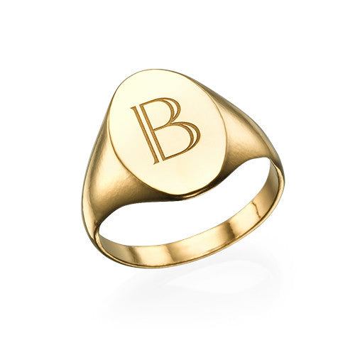 Personalized Signet Ring with Initial in 18K Gold Plating