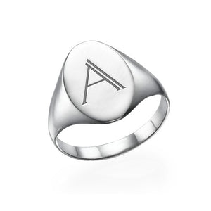 Personalized Signet Ring with Initial in Sterling Silver