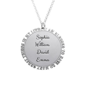 Inspirational Family Disc Necklace in Sterling Silver