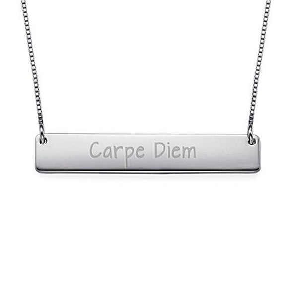 Carpe Diem - Inspirational Bar Necklace in Sterling Silver - My Family Necklace