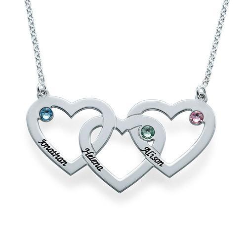 Intertwined Hearts Necklace with Birthstones - My Family Necklace