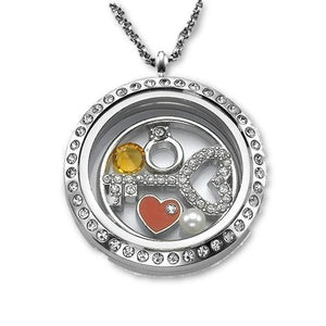 Key To My Heart Floating Locket Necklace - My Family Necklace