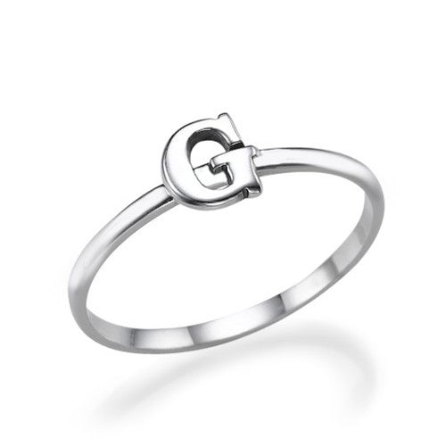 Stackable Initial Ring in Sterling Silver