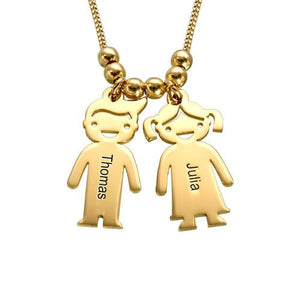 Mother's Necklace with Children Charms in 18K Gold Plating - My Family Necklace