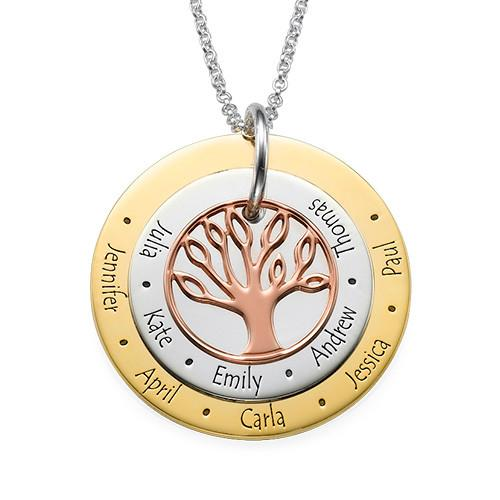 Multi -Tone Family Tree Necklace for Moms - My Family Necklace