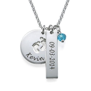 Baby Feet Charm Necklace with Birthstone - My Family Necklace