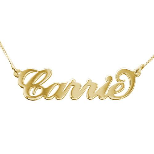 18K Solid Gold Carrie Name Necklace - Box Chain - My Family Necklace