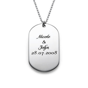 Men's Personalized Dog Tag Necklace in Sterling Silver  – Script Font