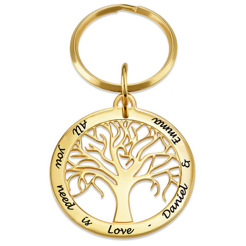 Personalized Family Tree Keychain in 18K Gold or Rose Gold Plating