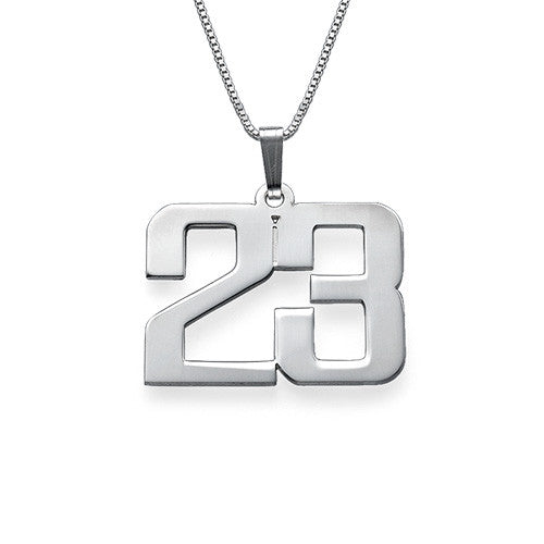 Number Necklace in Sterling Silver - Personalized Jewelry For Men