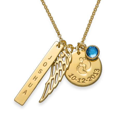 Mom's Angel Charm Necklace in 18K Gold Plating - My Family Necklace