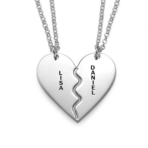 Personalized Breakable Heart Necklace for Couples in Sterling Silver