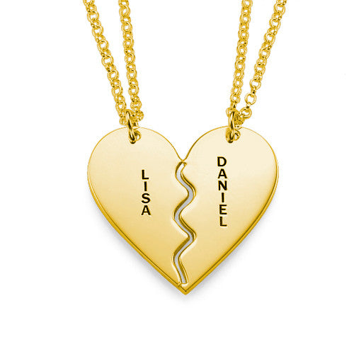 Personalized Breakable Heart Necklace for Couples in 18K Gold Plating