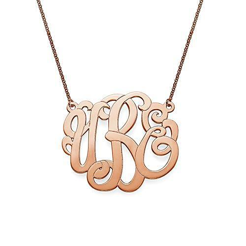 Premium Monogram Necklace in 18K Rose Gold Plating - My Family Necklace