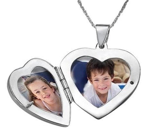 Heart Locket Necklace with Photo & Name Engraving - My Family Necklace