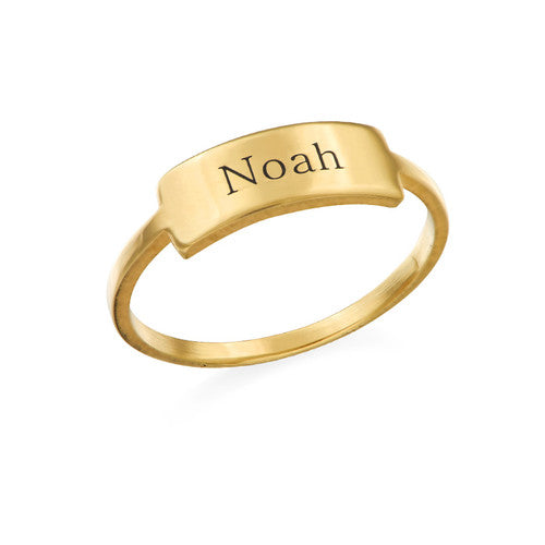 Engraved Nameplate Ring in 18K Gold Plating
