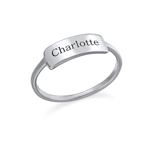 Engraved Nameplate Ring in Sterling Silver
