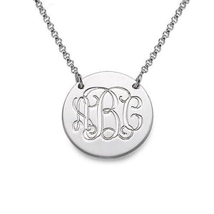 Silver Monogram Disc Necklace - My Family Necklace