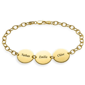 Disc Name Bracelet for Mom in 18K Gold Plating - My Family Necklace