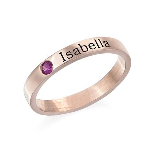 Stackable Birthstone Name Ring in 18K Rose Gold Plating - My Family Necklace