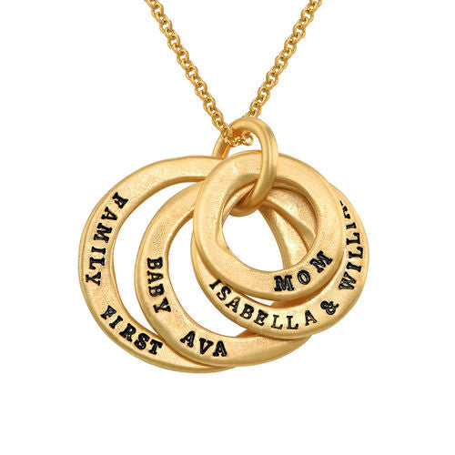 Stamped Family Disc Necklace in 18K Gold Plating