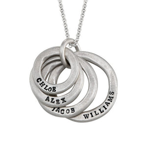 Stamped Family Disc Necklace in Sterling Silver