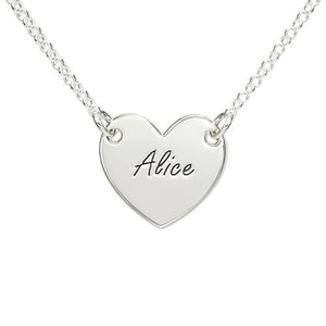 Sterling Silver Engraved Heart Necklace - My Family Necklace