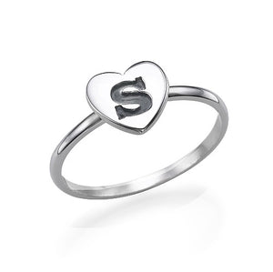 Heart Initial Stacking Ring in 18K in Sterling Silver