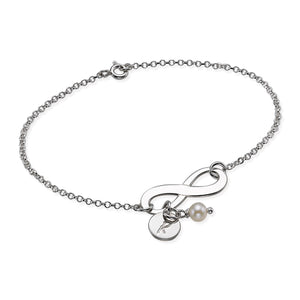 Infinity Bracelet with Initial in Sterling Silver