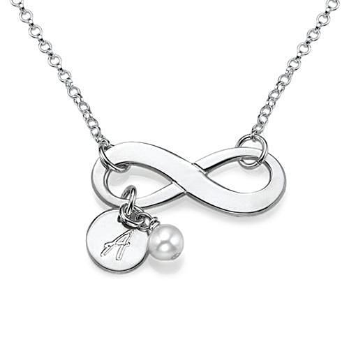 Silver Infinity Necklace with Initials - My Family Necklace