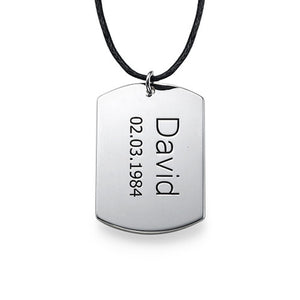 "Men's ""Dog Tag"" Necklace in Sterling Silver"