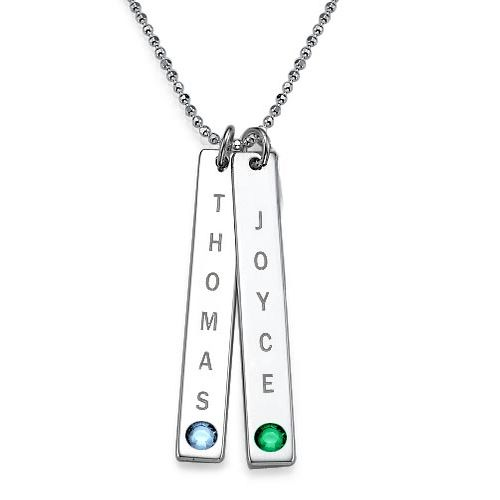 Vertical Bar Necklace in Sterling Silver with Swarovski - My Family Necklace