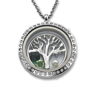 Tree of Life Floating Locket Necklace - My Family Necklace