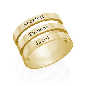 Three Name Ring in 18K Gold Plating