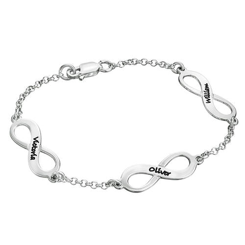 Multiple Infinity Bracelet in Sterling Silver - My Family Necklace
