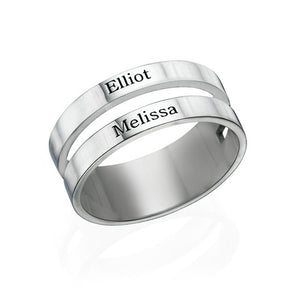 Two Name Ring in Sterling Silver