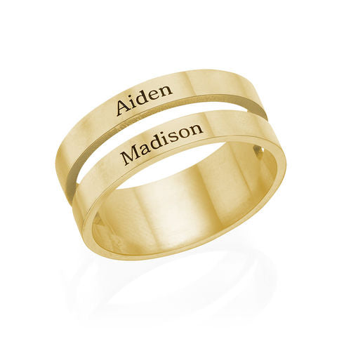 Two Name Ring in 18K Gold Plating
