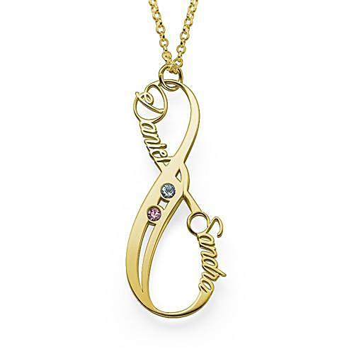Vertical Infinity Name Necklace in 18K Gold Plating - My Family Necklace