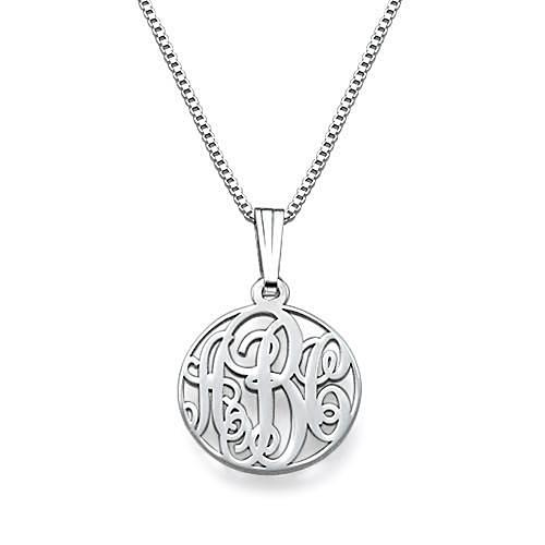XS Circle Monogrammed Necklace in Sterling Silver - My Family Necklace