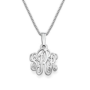 Small Fancy Sterling Silver Monogram Necklace - My Family Necklace