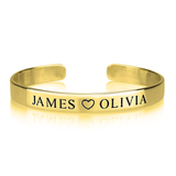 Engraved Name Bangle in 24K Gold Plating