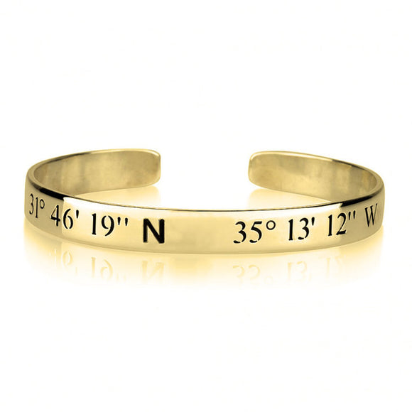 Coordinates Bangle Bracelet in 24K Gold Plating