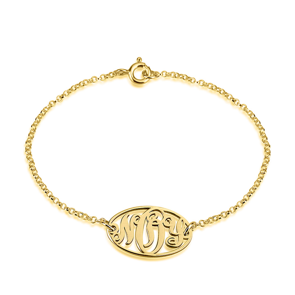 Dainty Monogram Bracelet in 24K Gold Plating