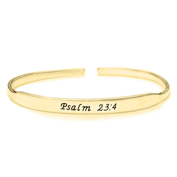 Personalized Inspirational Bangle in 24K Gold Plating