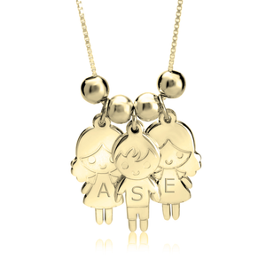 Mother's Necklace with Boy & Girls Charms in 24K Gold Plating - My Family Necklace
