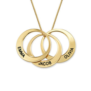 Multiple Ring Necklace in 18K Gold Plating