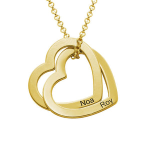 Interlocking Hearts Necklace in 18K Gold or Rose Gold Plating