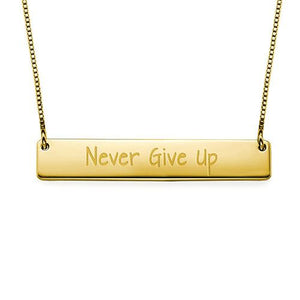 Never Give Up Inspirational Bar Necklace - My Family Necklace