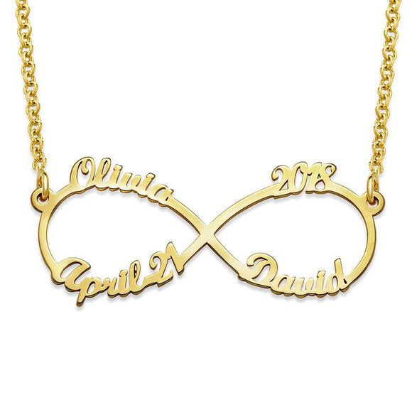 Infinity Necklace with Four Names in 18K Gold Plating - My Family Necklace